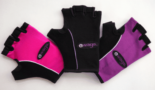 WAGs Pro fitness gloves in pink, black, and purple