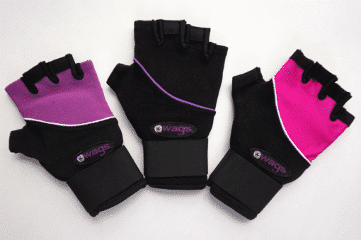 WAGs Ultra wrist support gloves in purple, black, and pink