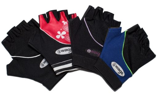 WAGs Flex fitness gloves in black, black and red, black and purple, and blue